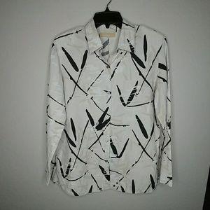 Kate Hill Black Tan Long Sleeve Fall Linen Shirt